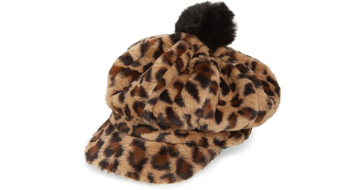 048d6c38 Lyst - BP. Pompom Leopard Print Faux Fur Baker Boy Hat in Brown