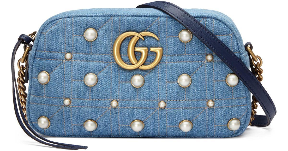 0af8d01ceb4c Gucci Marmont 2.0 Imitation Pearl Embellished Denim Camera Bag in Blue -  Lyst
