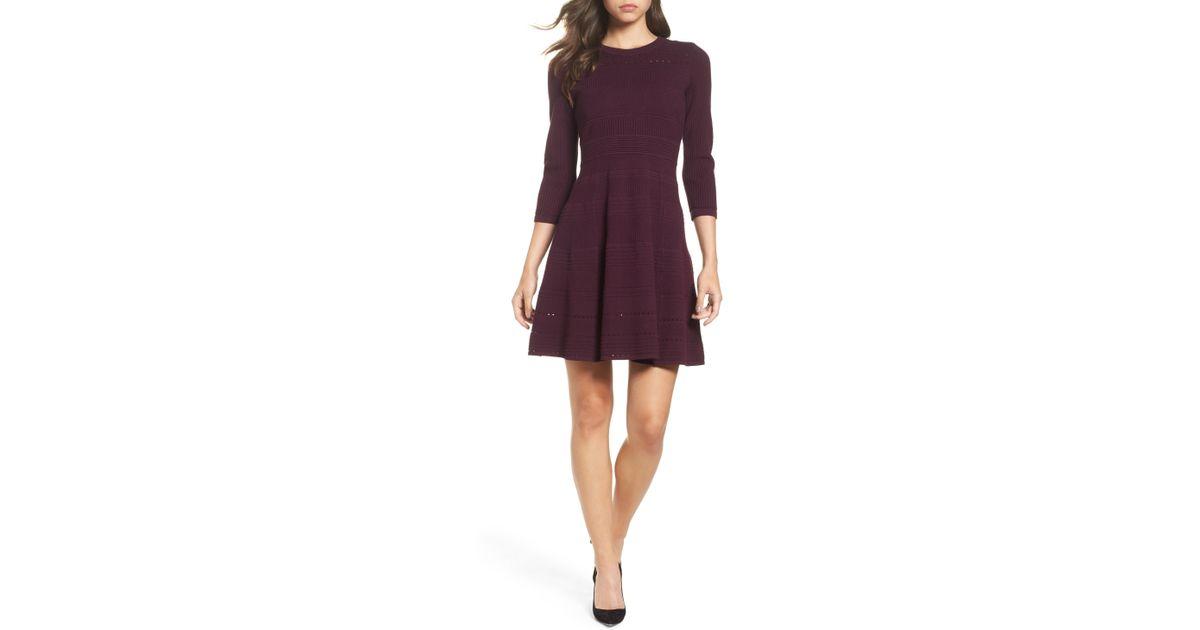 5d95c519df9 Lyst - Eliza J Fit   Flare Sweater Dress in Purple