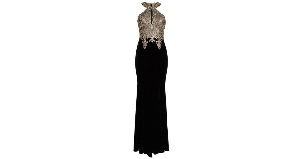 79324bd712e26 Xscape Crystal Embroidered Velvet Gown in Black - Lyst