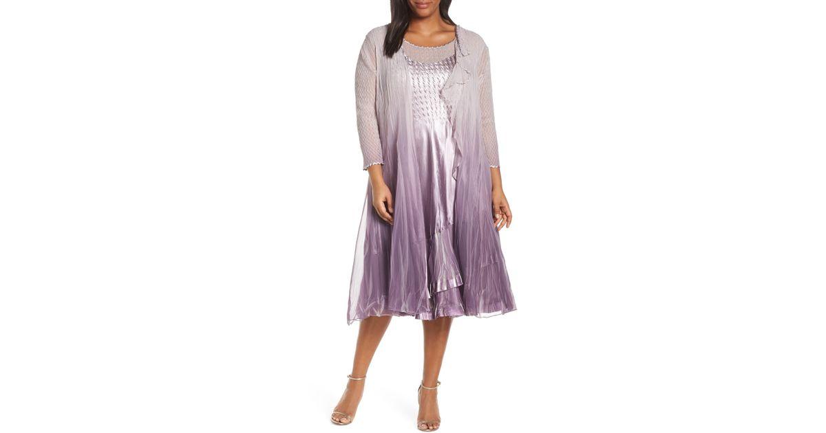 Komarov Purple Komorav Charmeuse Chiffon Dress With Cascade Jacket
