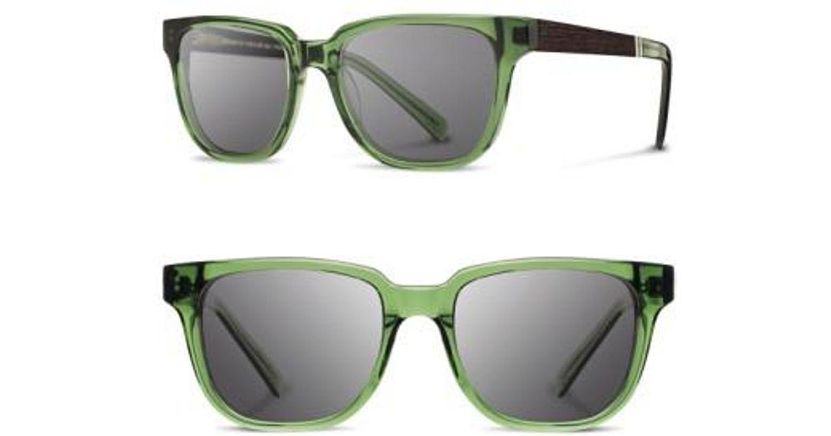 ff8c8daa4e Lyst - Shwood  prescott  52mm Polarized Acetate   Wood Sunglasses -  Emerald  Ebony  Grey Polar in Green