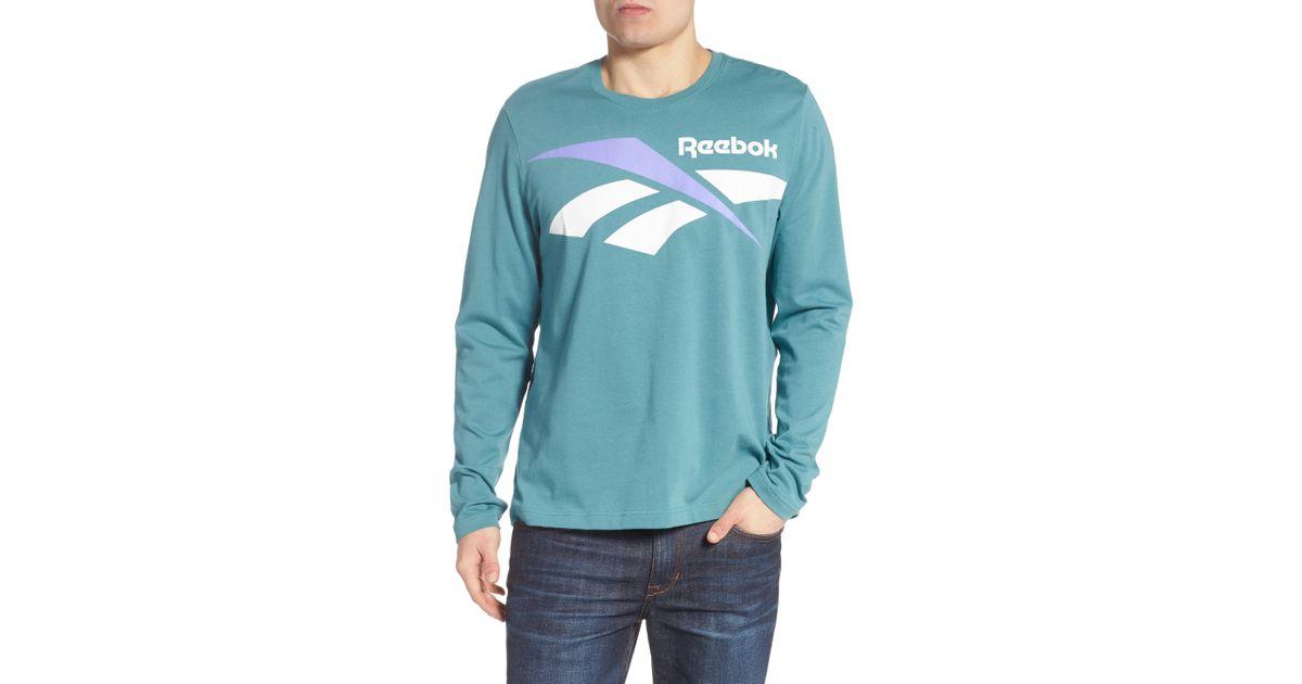 87b7c8ec4f0 Lyst - Reebok Classics Vector Logo Long Sleeve T-shirt in Blue for Men