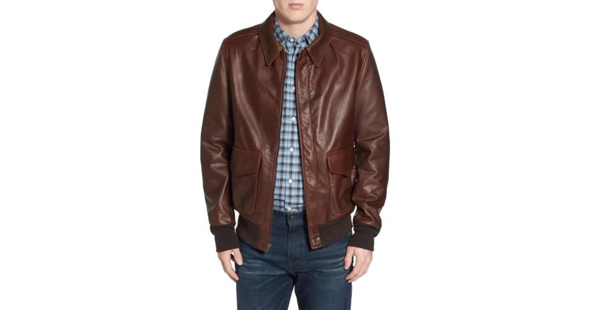 Lyst - Schott nyc 'a-2' Pebbled Leather Bomber Jacket in Brown for Men