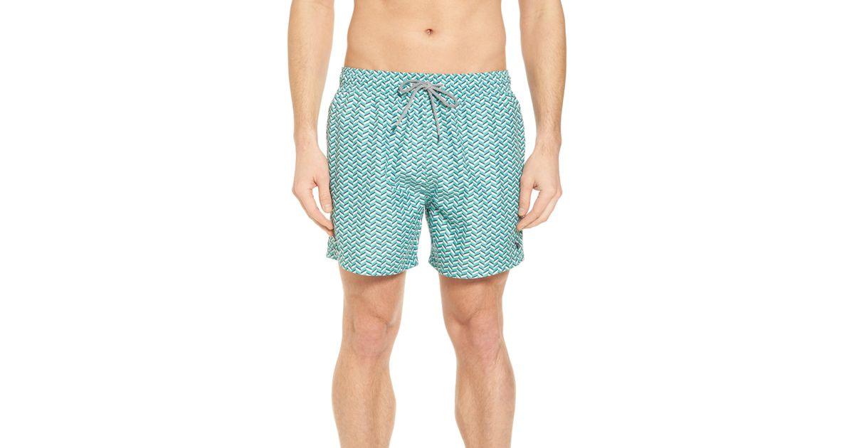 1a35014af8 Ted Baker Caven Geo Print Swim Trunks in Green for Men - Lyst