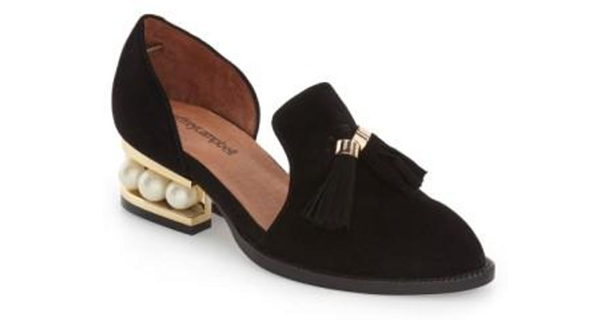 0de40f20dc2 Lyst - Jeffrey Campbell  civil  Pearly Heeled Beaded Tassel Loafer in Black