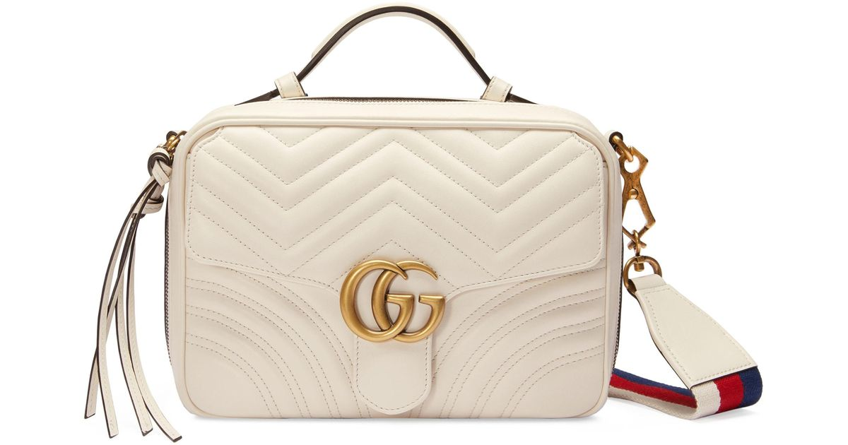 d404ef2f88c105 Gucci Small Gg Marmont 2.0 Matelasse Leather Camera Bag With Webbed Strap  in White - Lyst
