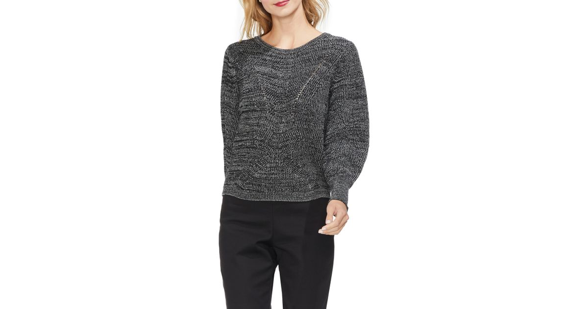 3b4e207ed8ce75 Lyst - Vince Camuto Marled Lace-up Detail Sweater in Black - Save 61%