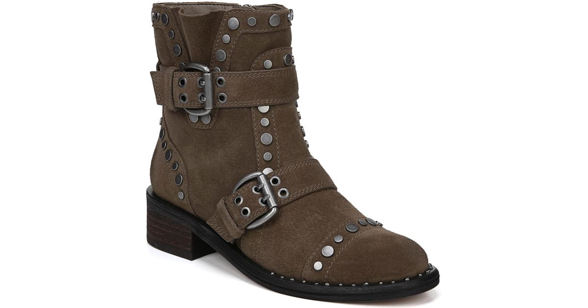 f73f514bc Lyst - Sam Edelman Drea Studded Suede Booties in Brown - Save 61%