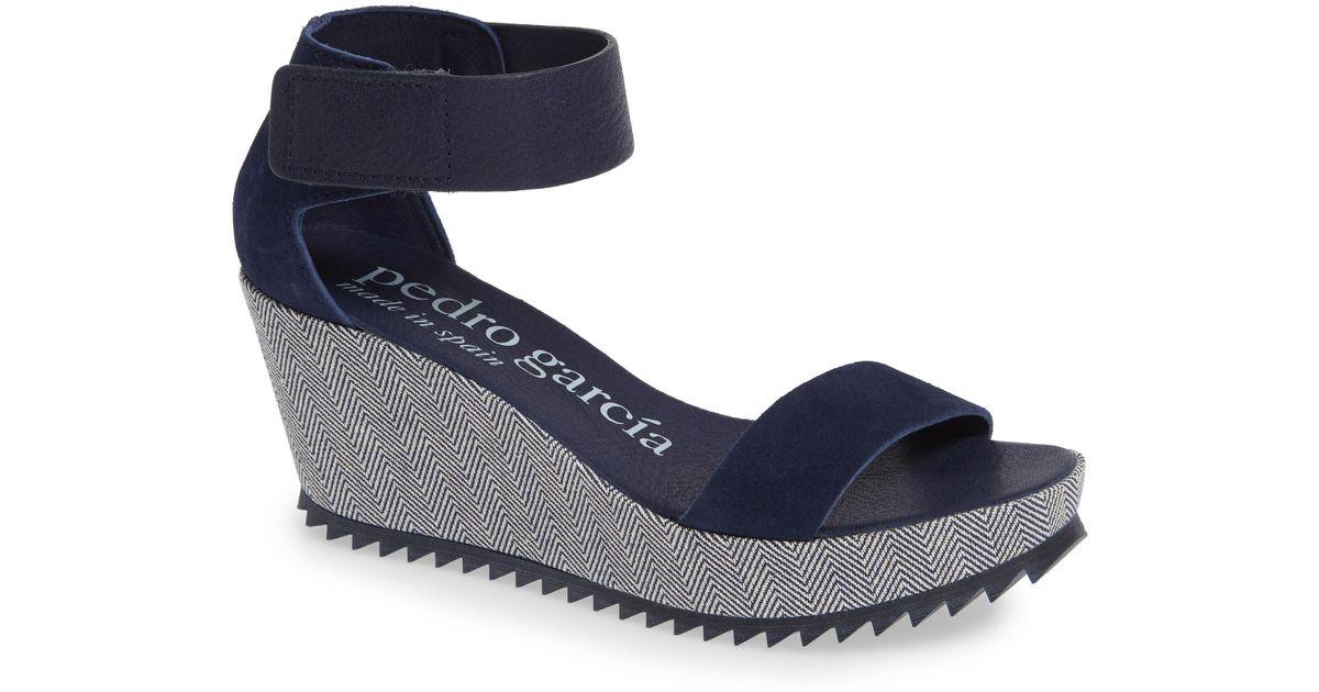 9ff9f716900 Lyst - Pedro Garcia Fidelia Wedge Sandal in Blue