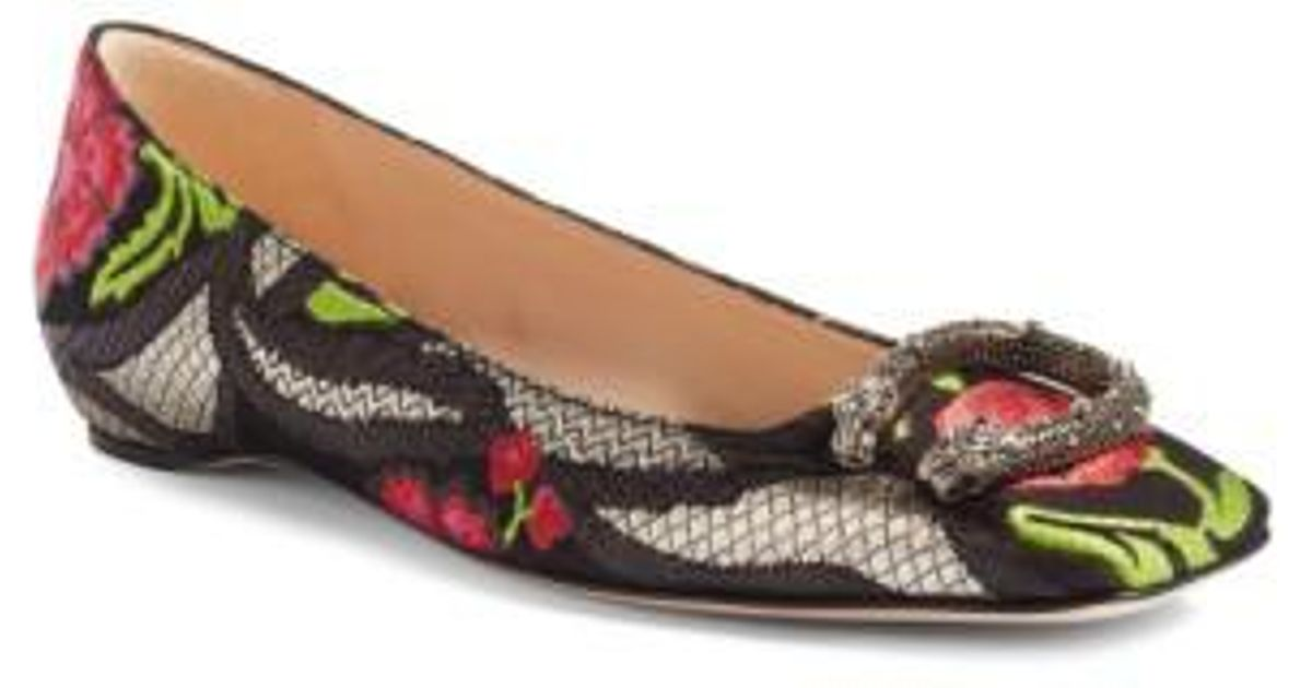 d9891337a55 Lyst - Gucci Dionysus Embellished Square Toe Flats in Black