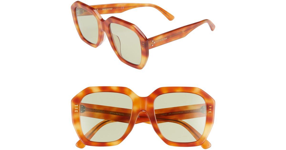 9e040a28d0eb Céline 53mm Square Photochromic Sunglasses in Orange - Lyst