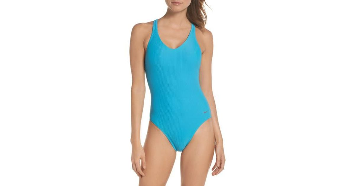 827adf242 Nike Swim Ribbed One-piece Swimsuit in Blue - Lyst
