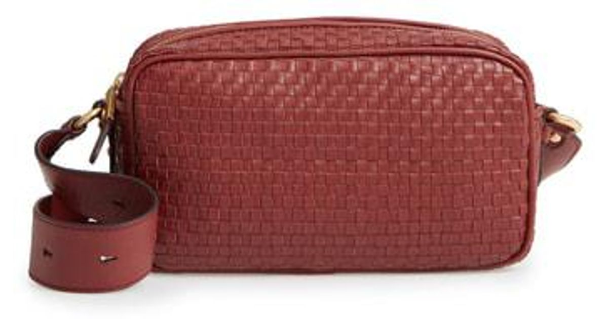 1baf9bcc49 Lyst - Cole Haan Zoe Rfid Woven Leather Camera Bag in Red