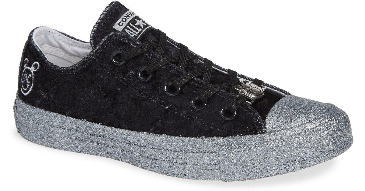 85ada9ca5a Lyst - Converse X Miley Cyrus Chuck Taylor All Star Velvet Glitter Low Top  Sneaker in Black