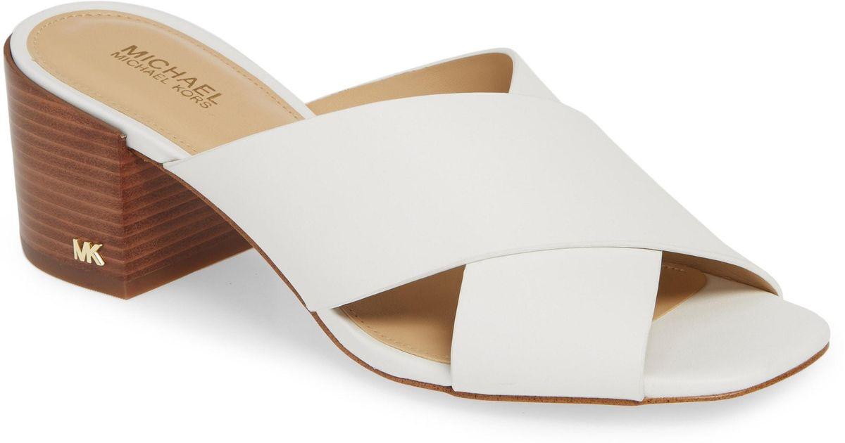f27619cc261 Lyst - MICHAEL Michael Kors Abbot Slide Sandal in White