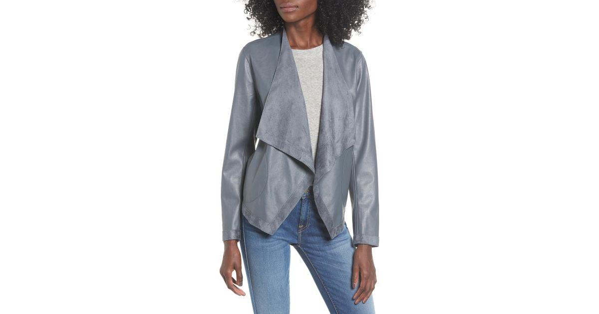 c924c4bff BB Dakota Gray Teagan Reversible Faux Leather Drape Front Jacket