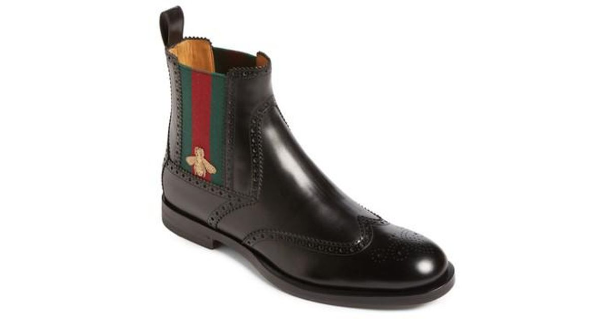 Gucci Leather Strand Chelsea Boot in