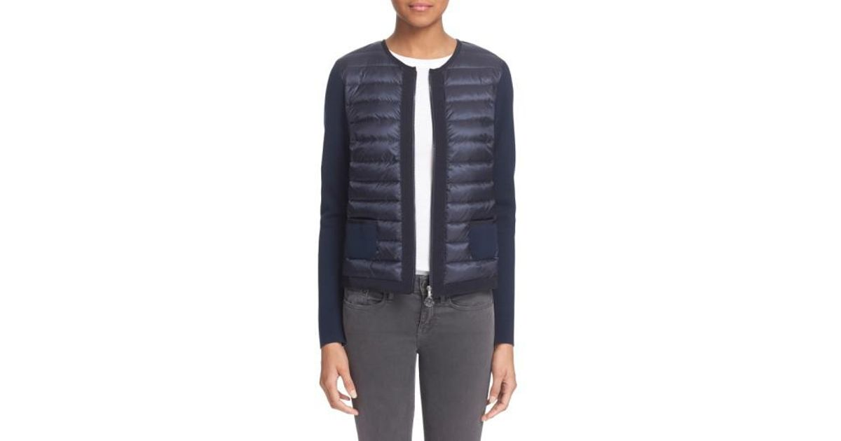 30ccb3649 Moncler Blue 'maglia' Quilted Down Front Tricot Cardigan
