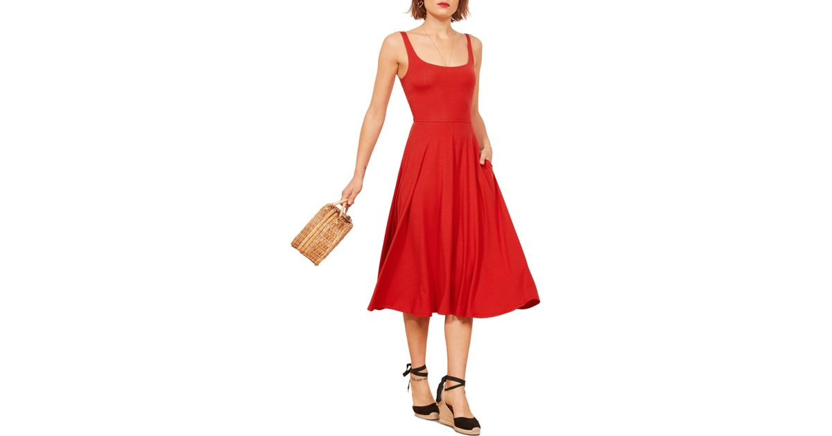 de6bc76b8c Reformation Rou Midi Fit   Flare Dress in Red - Lyst