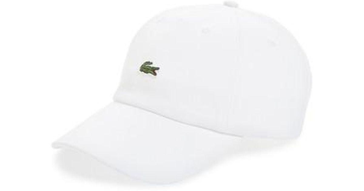 6cb09918ae2f5 Lacoste Small Croc Baseball Cap in White for Men - Lyst