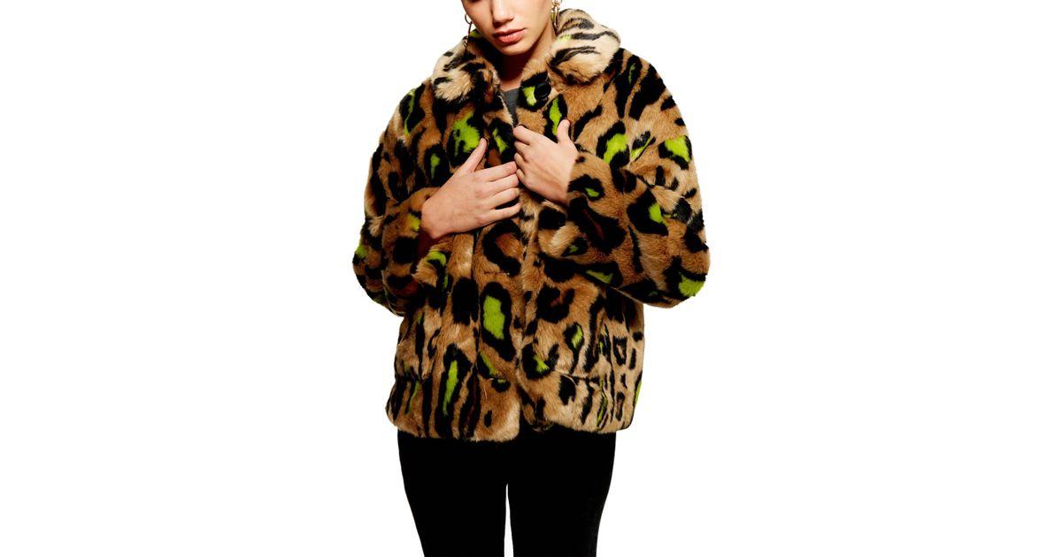 ea27787e751 Lyst - TOPSHOP Juno Faux Fur Leopard Jacket - Save 40%