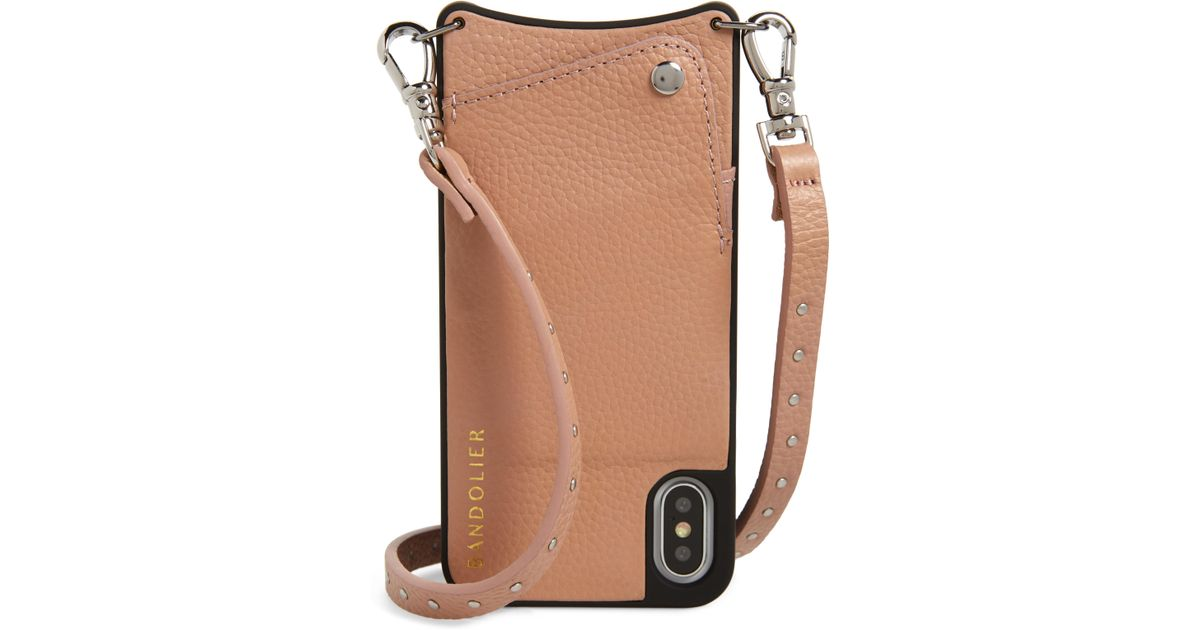 4f458d507aa5 Lyst - Bandolier Nicole Pebbled Leather X xs xs Max   Xr Crossbody Case in  Pink