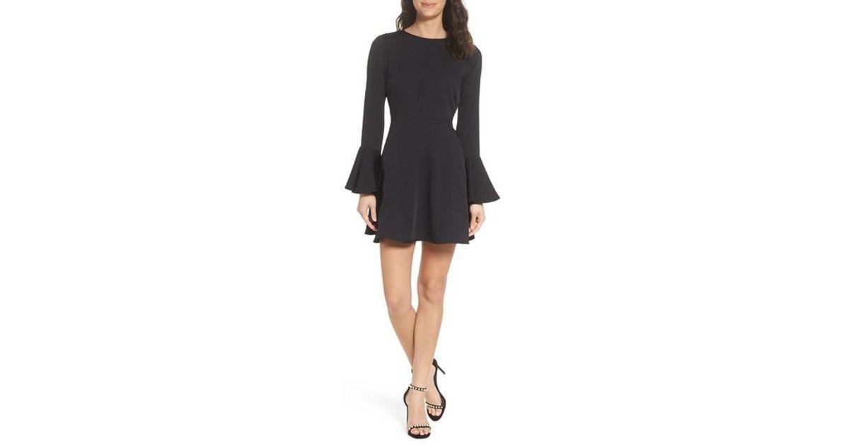 aa69ecac858 Chelsea28 Bell Sleeve Fit   Flare Dress in Black - Lyst