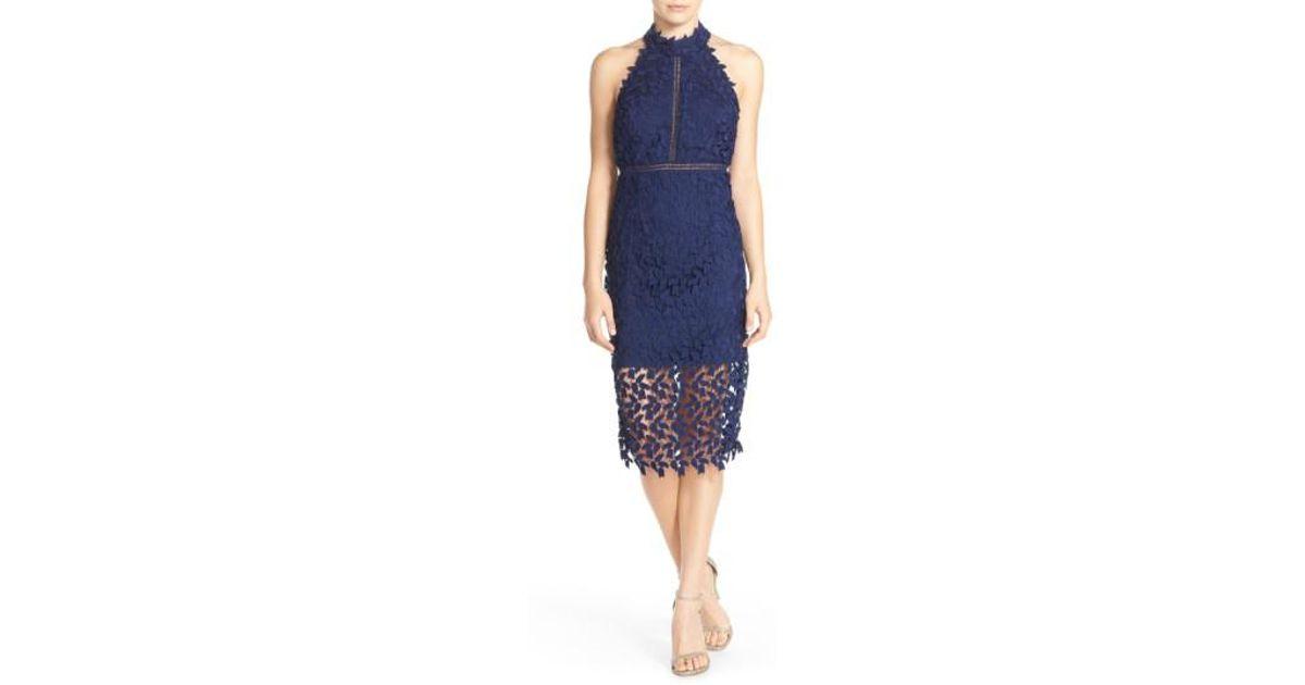 Bardot Blue Gemma Halter Lace Sheath Dress