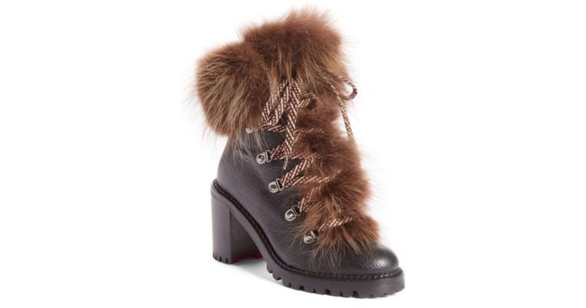 newest collection eade1 a0bb3 Christian Louboutin Brown Fanny Genuine Raccoon Fur Boot
