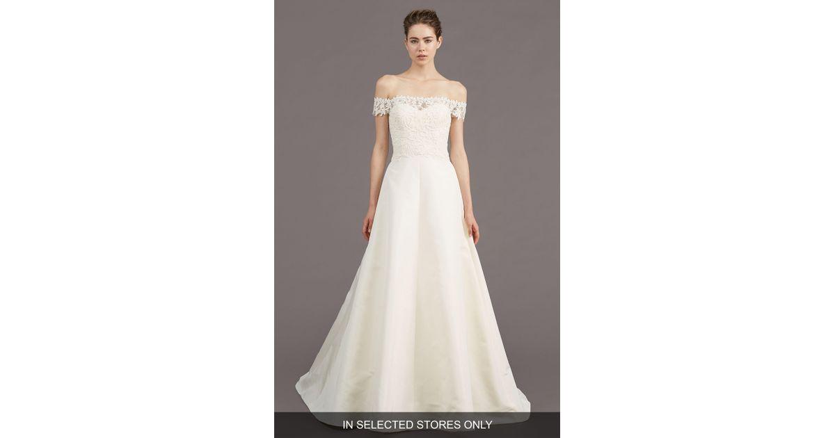 18142d348531 Lyst - Amsale Tilden Lace & Silk Blend Gown in White