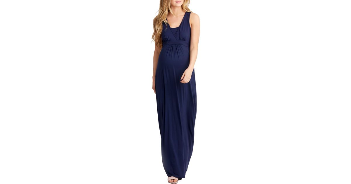 6c38d381f70 Lyst - Nom Maternity Hollis Maternity nursing Maxi Dress in Blue