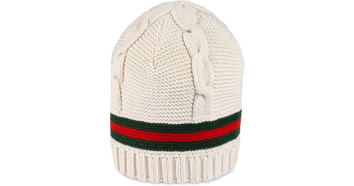 4dabfbcff73 Lyst - Gucci Liom Cable Knit Beanie -