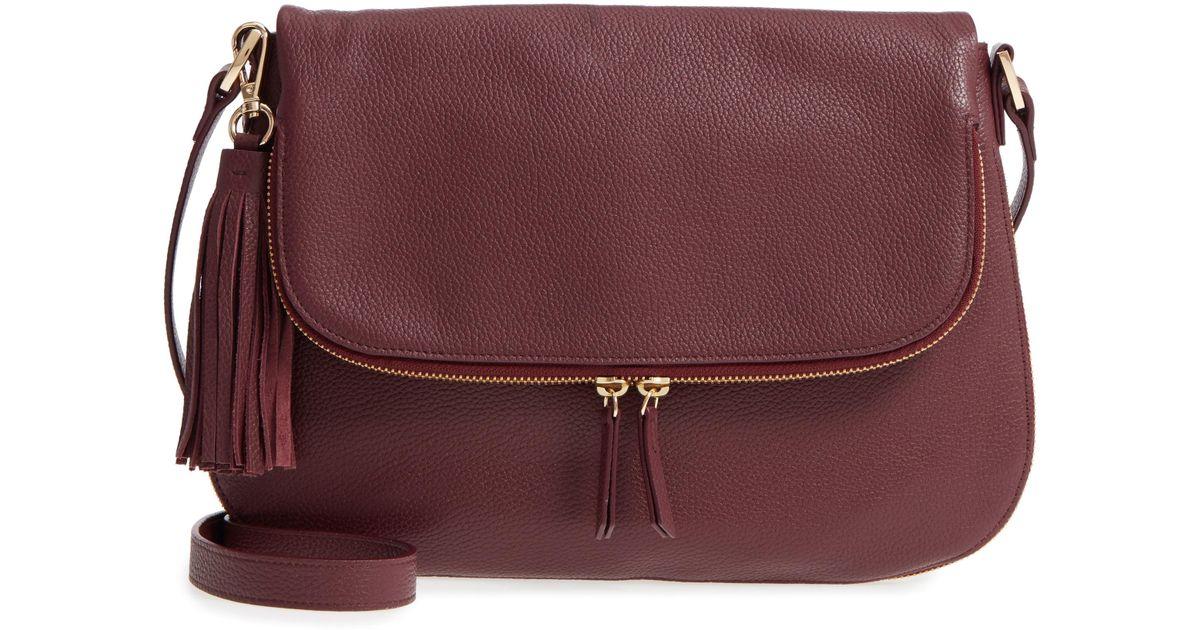 48dc73dc196 Lyst - Nordstrom Kara Leather Expandable Crossbody Bag - Burgundy in Purple