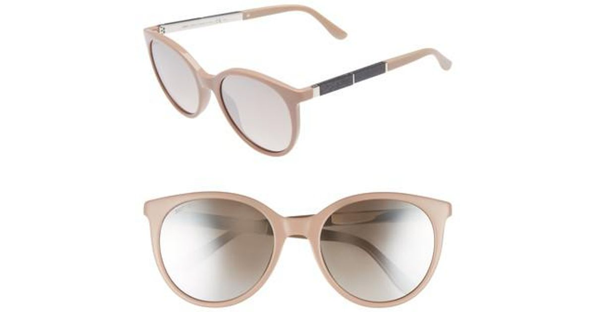 01a3a39b1ca Lyst - Jimmy Choo Erie 54mm Gradient Round Sunglasses - Nude in Natural
