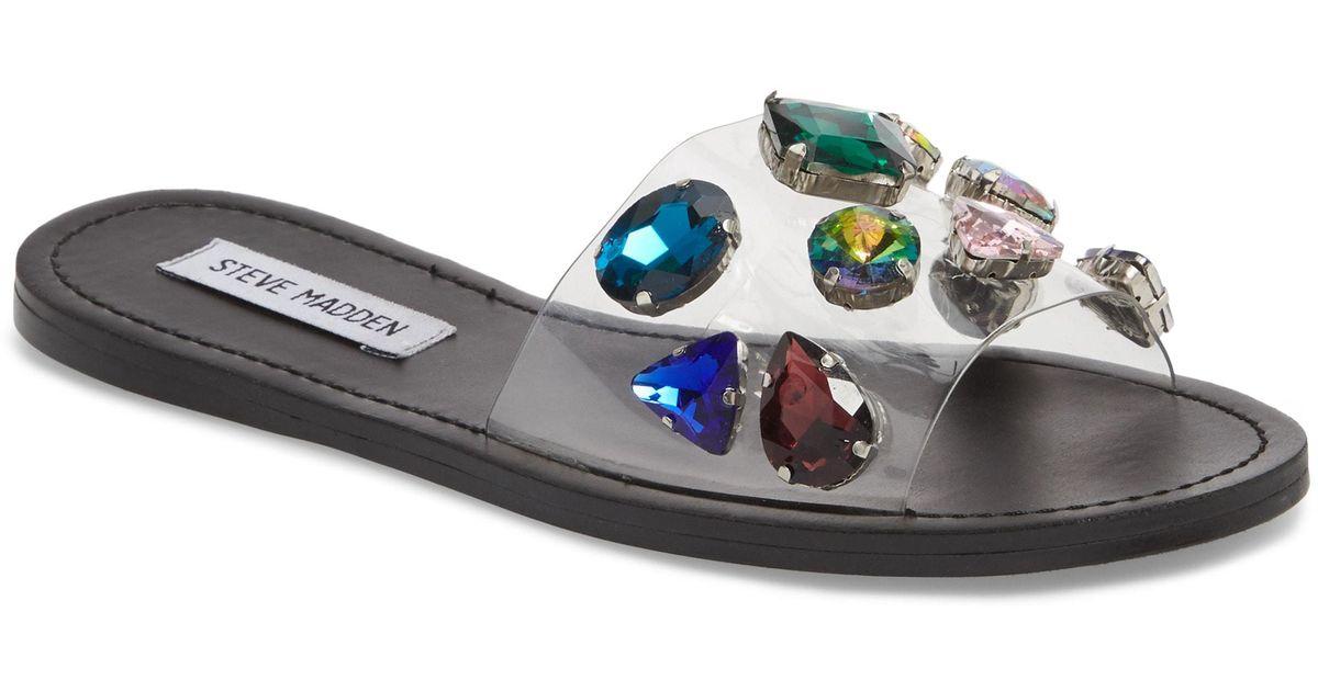5abff5f6963 Steve Madden Black Rosalyn Embellished Slide Sandal