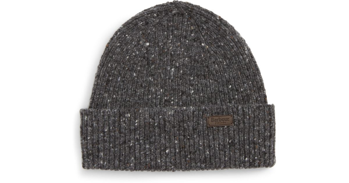 90482e7f2c25e Barbour Lowerfell Donegal Beanie Hat in Gray - Lyst