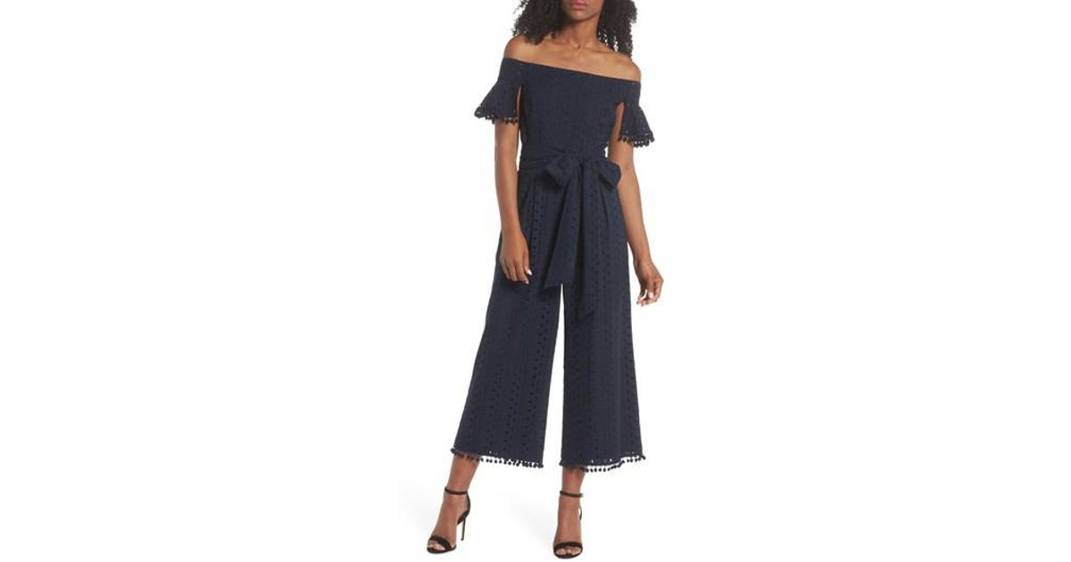 0537060fdbe Lyst - Chelsea28 Off The Shoulder Eyelet Pom Jumpsuit (regular   Petite) in  Blue