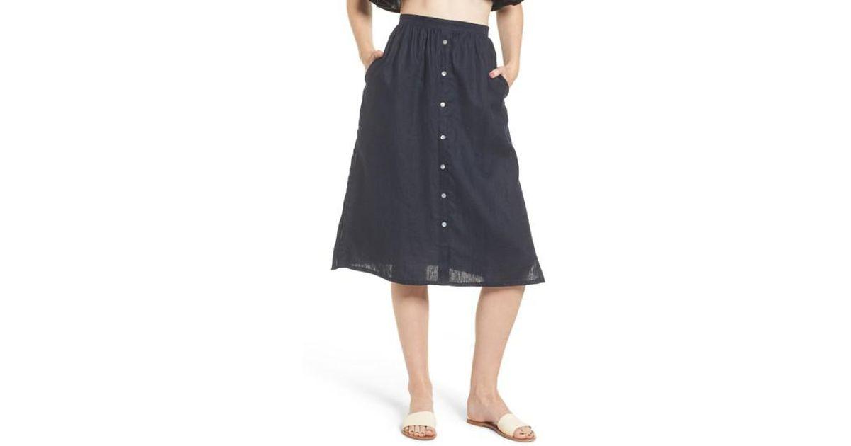 1a70077ecc Lyst - Faithfull The Brand Seine Linen Midi Skirt in Blue