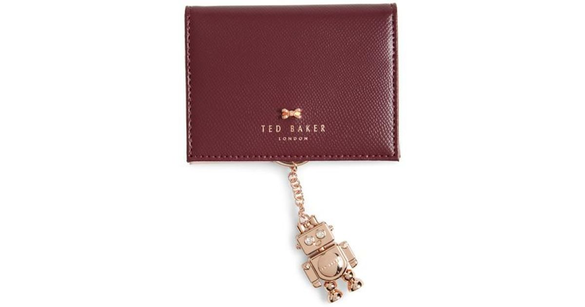classic fit 7b457 97d28 Ted Baker Natural Leather Card Case With Robot Key Chain