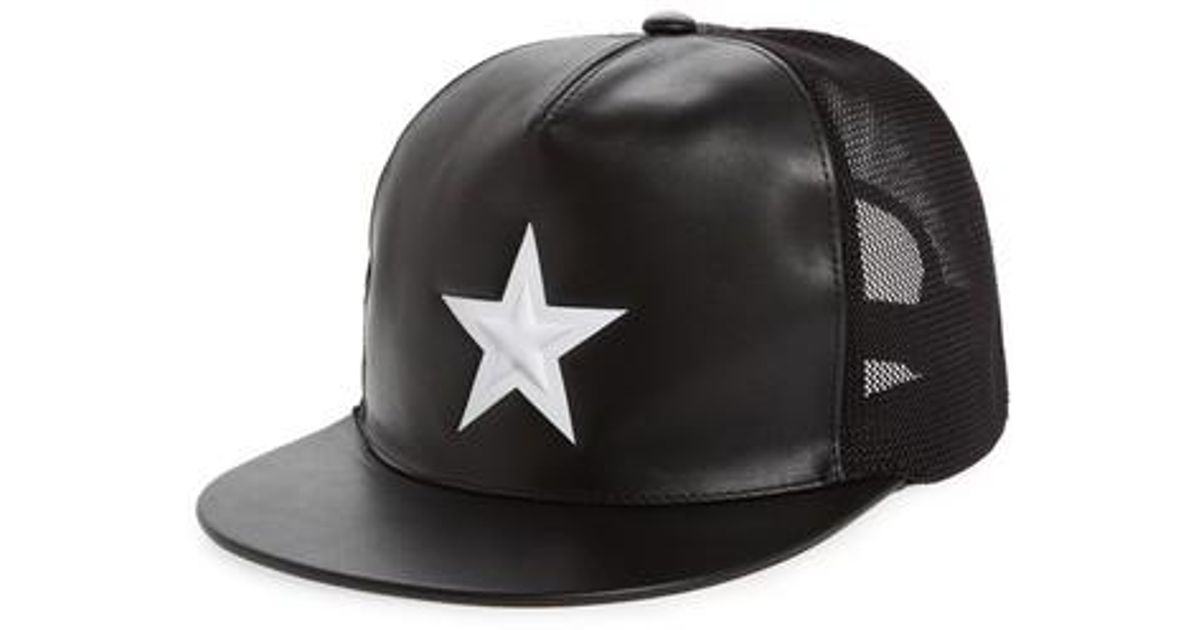 Lyst - Givenchy Star Leather Trucker Cap - in Black for Men ea7d73d4ee6