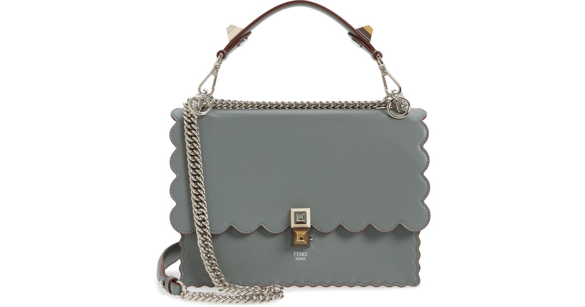 Lyst - Fendi Kan I Scallop Leather Shoulder Bag -