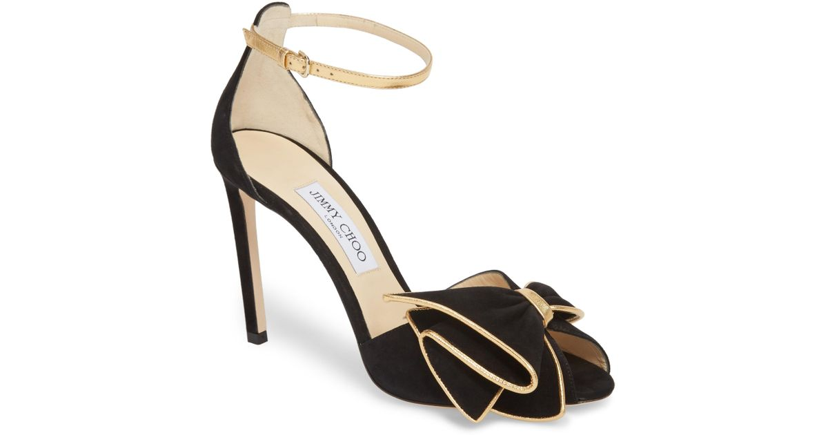 d06918115c5643 Lyst - Jimmy Choo Karlotta Bow Ankle Strap Sandal in Metallic