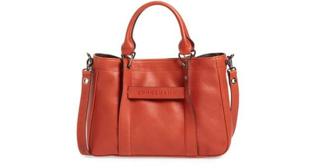 b4d0630efa47 Lyst - Longchamp  small 3d  Leather Tote in Red