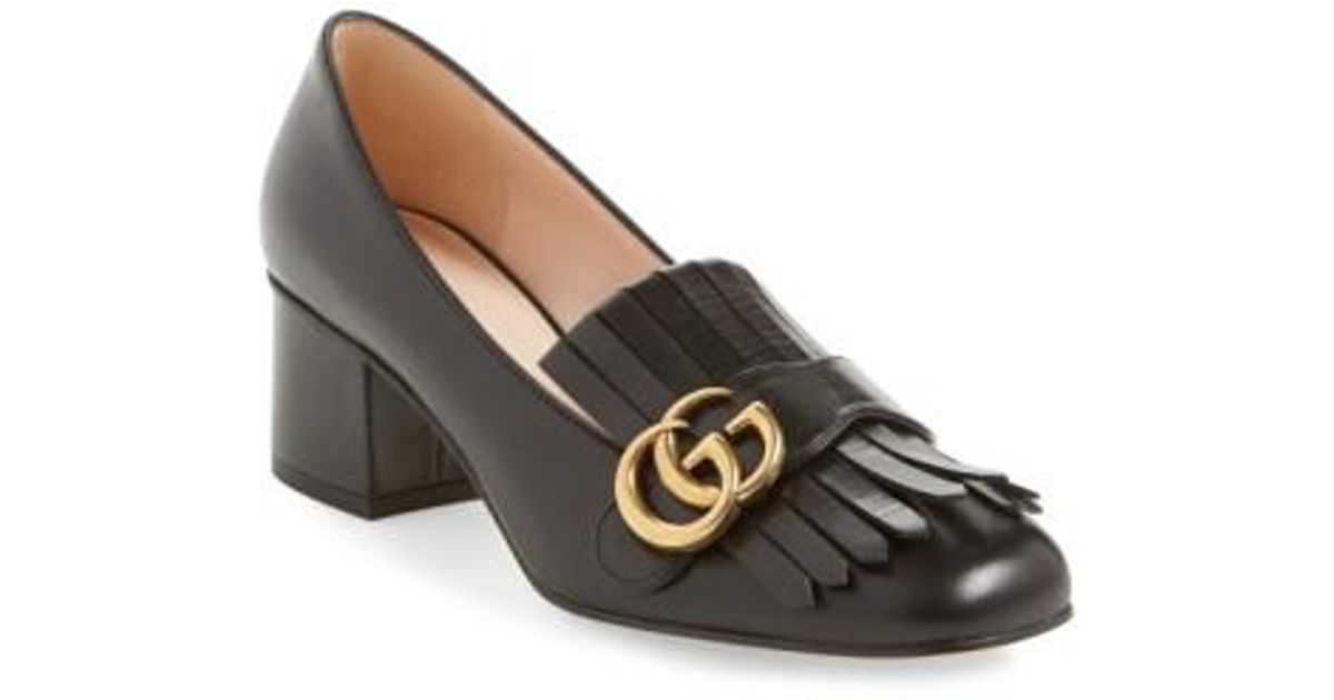 92429857107b9 Lyst - Gucci Marmont Leather Pumps in Purple - Save 84%