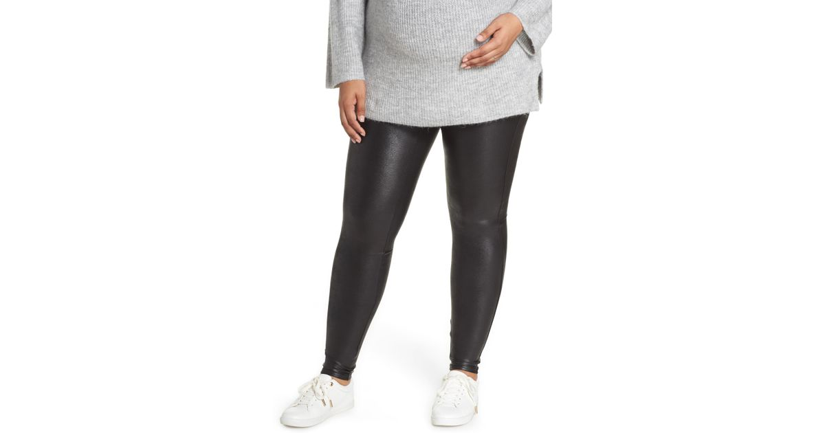 7b0491a63b917 Lyst - Spanx Spanx Mama High Rise Faux Leather Maternity Leggings in Black