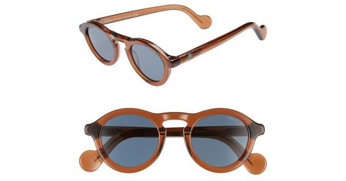 72708bde4a6 Lyst - Moncler 46mm Round Sunglasses - Shiny Burnt Brown in Brown for Men