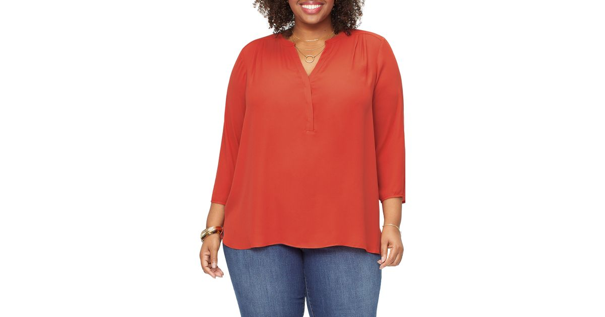 7405f4c344937 Lyst - Nydj Curves 360 By Perfect Blouse in Red