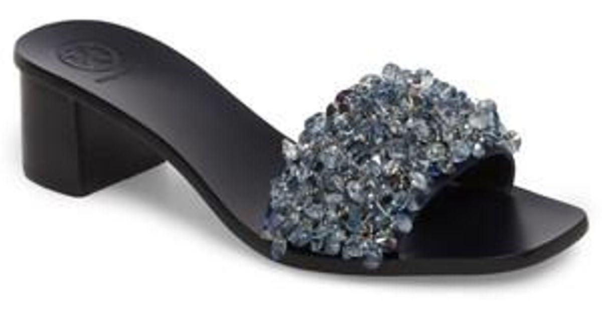 056336c8d56a Lyst - Tory Burch Logan Embellished Slide Sandal in Black