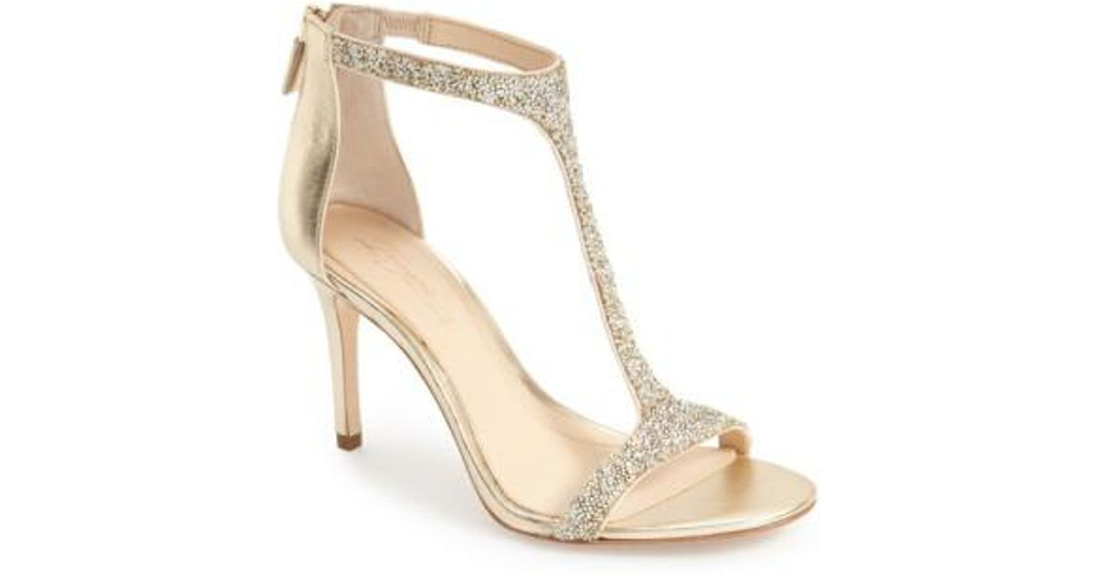 e3e43a25a9ee Lyst - Imagine Vince Camuto  phoebe  Embellished T-strap Sandal in Metallic